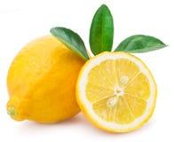 Frutti maturi del limone su un fondo bianco immagini stock