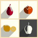 Frutti messi delle icone piane con ombra Illustrazione di vettore Illustrazione di Stock