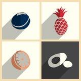 Frutti messi delle icone piane con ombra Illustrazione di vettore Illustrazione Vettoriale