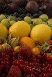 Frutti misti sistemati nei colori dell'arcobaleno Immagine Stock