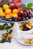 Frutti a nocciolo freschi su un piatto Fotografia Stock