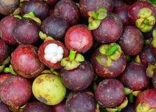 Frutti organici freschi del mangostano al mercato Fotografie Stock Libere da Diritti