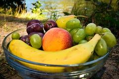 Frutti organici freschi sul piatto Immagine Stock