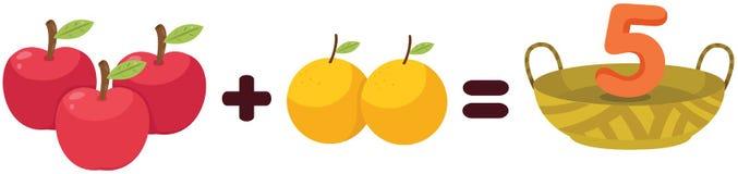 Frutti per imparare matematica illustrazione vettoriale