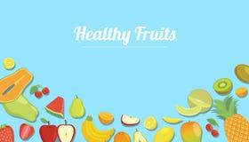Frutti sani con il vario genere di frutta per l'insegna del modello con stile piano di colore moderno blu - vettore illustrazione di stock