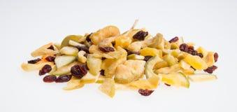 Frutti secchi o conserva frutta ordinata su fondo Fotografia Stock