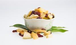 Frutti secchi o conserva frutta ordinata su fondo Fotografia Stock Libera da Diritti