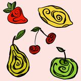 Frutti stilizzati su fondo monocromatico Immagini Stock