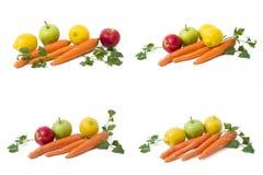 Frutti su un fondo bianco Limone con le mele e kiwi su fondo bianco Kiwi con il limone su un fondo bianco Fotografia Stock Libera da Diritti