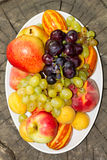 Frutti su un piatto su un grande vecchio ceppo di albero Immagine Stock