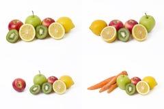 Frutti in una composizione su un fondo bianco Limone con le mele e kiwi su fondo bianco Immagine Stock