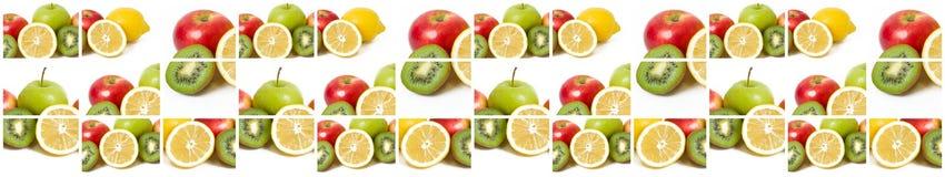 Frutti in una composizione su un fondo bianco Limone con le mele e kiwi su fondo bianco Frutti con le carote su una parte posteri Immagini Stock