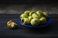 Frutti verdi dei fichi sul piatto blu immagini stock libere da diritti