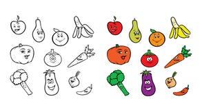Fruttifica il libro da colorare delle verdure Fotografia Stock