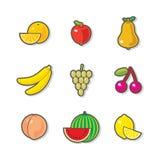Fruttifica le icone Fotografia Stock