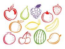 Fruttifica le icone Insieme del illustartion di frutti royalty illustrazione gratis