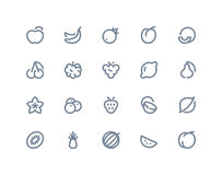 Fruttifica le icone Linea seris Fotografie Stock