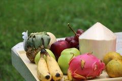 Fruttifichi su una tavola di marmo con il fondo dell'erba verde fotografia stock libera da diritti