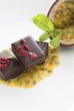 Frutto della passione con cioccolato Immagine Stock
