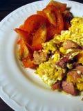 Förvanskat ägg med tomater Arkivfoto