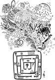Förvirrad maze för Sketchy klotter Arkivbild