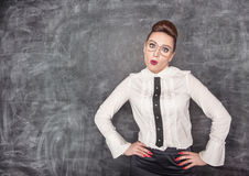 Förvånad lärare Arkivfoton