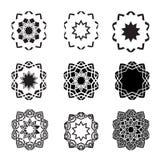 Förvridna abstrakt stjärnasymbolsset och logoer Arkivbilder