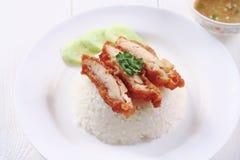 Fry chicken rice Stock Image
