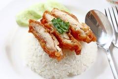 Fry chicken rice Stock Photo