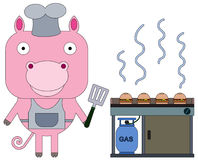 The fry cook pig Royalty Free Stock Images