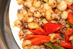 Fry cuttlefish wang feature. Chinese dishes Fry cuttlefish wang Royalty Free Stock Photography