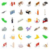 Fry icons set, isometric style. Fry icons set. Isometric set of 36 fry vector icons for web isolated on white background Royalty Free Stock Photography