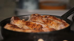 Fry Meat in a Frying Pan stock footage