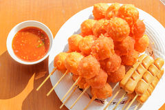 Fry meatballs. Meat ball Milanese orange. Skewers Stock Image