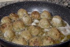 Fry  of meatballs Stock Image