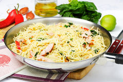 Fry noodle with ham and vegetables Royalty Free Stock Photos