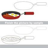 Fry pan. Drawing worksheet. Stock Photos