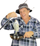 Fry Pan Fisherman Royalty Free Stock Photos