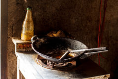 Fry pan in kitchen and Gas stove Stock Image