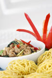 Fry pork with holy basil and noodle Stock Image