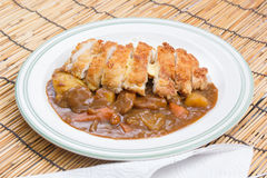Fry pork tongkatsu Japanese curry with rice Royalty Free Stock Photo