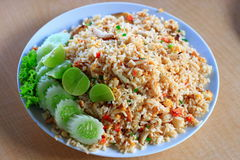 Fry rice. With green vagetable Royalty Free Stock Photos
