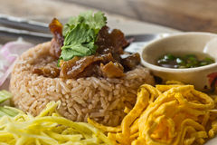 Fry rice with the shrimp paste Royalty Free Stock Photos