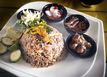Fry rice with the shrimp paste. Stock Photo