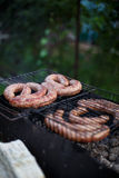 Fry sausages. In the garden Stock Photo