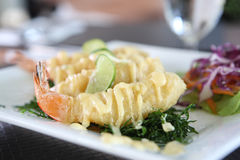 Fry shrimp with lime sauce Royalty Free Stock Photo