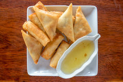 Fry Spring Roll With Sweet Sauce Stock Photos