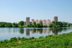 Fryazino Russia city, river and park blue sky royalty free stock photos