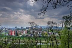 Frydek Mistek city. Frydek-Mistek town, Moravian-Silesian Region of Czech Republic, view from castle park Stock Images