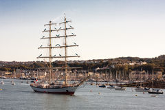 Fryderyk Chopin Tall Ship Rescued. The Fryderyk Chopin, which lost both its masts, had been due to arrive on Sunday morning, but poor weather slowed down the Stock Photography